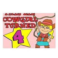 Little Cowgirl Turned 4 Postcards (Package of 8)