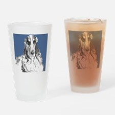 4BlueEmbrBorzoiPortraitRP Drinking Glass