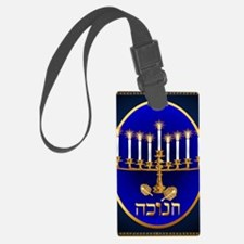 goldHannukahcandlesOvalPosterP Luggage Tag