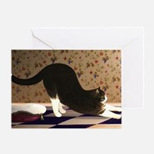 Cat Stretching Greeting Card