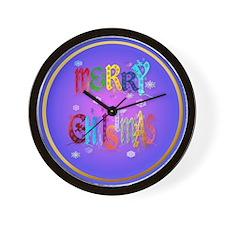 circle Merry Colorful Christmas Wall Clock