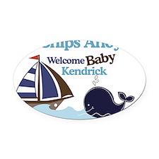 Ships Ahoy Baby Shower Sign Oval Car Magnet