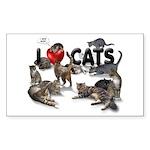 "Rectangle Sticker ""I Love Cats"""
