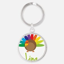 Lina-the-turkey Round Keychain