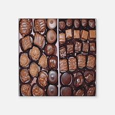 "Chocolate Candy Flip Flops Square Sticker 3"" x 3"""