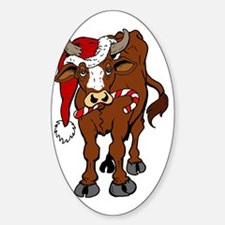 christmas-cow Sticker (Oval)