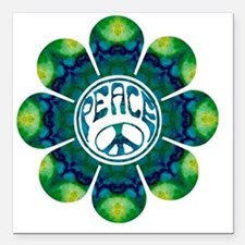 "Peace Flower - Meditatio Square Car Magnet 3"" x 3"""