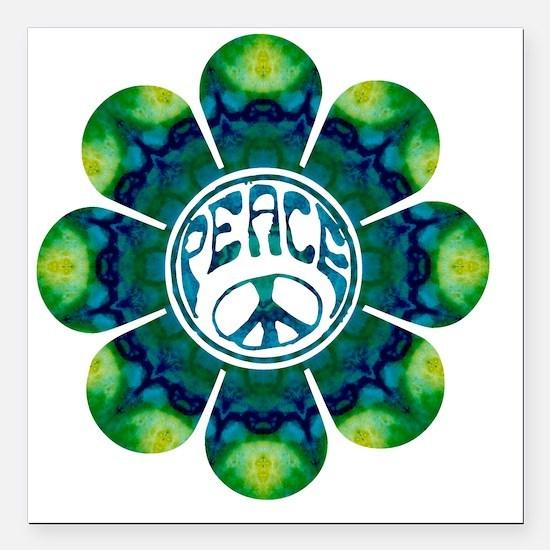 """Peace Flower - Meditatio Square Car Magnet 3"""" x 3"""""""
