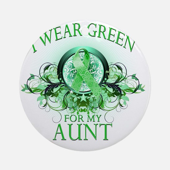 I Wear Green for my Aunt (floral) Round Ornament
