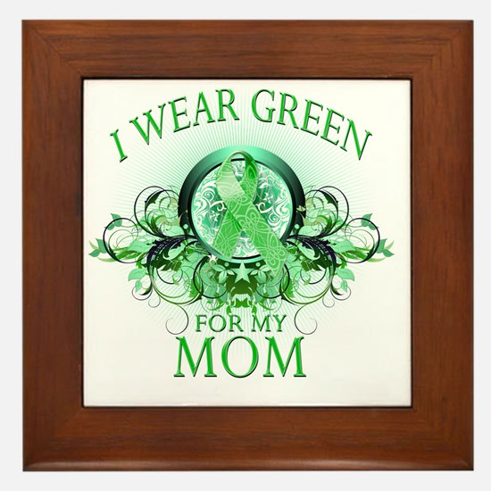 I Wear Green for my Mom (floral) Framed Tile