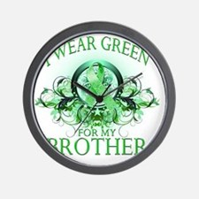 I Wear Green for my Brother (floral) Wall Clock