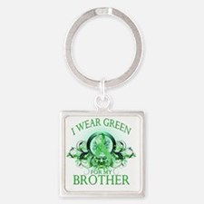 I Wear Green for my Brother (flora Square Keychain