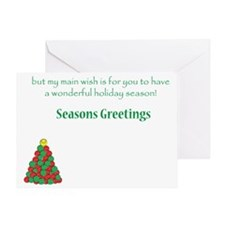 TennisHolidayInside 7x5 Greeting Card
