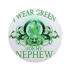 I Wear Green for my Nephew (floral) Round Ornament