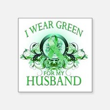 "I Wear Green for my Husband Square Sticker 3"" x 3"""