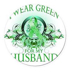 I Wear Green for my Husband (flor Round Car Magnet