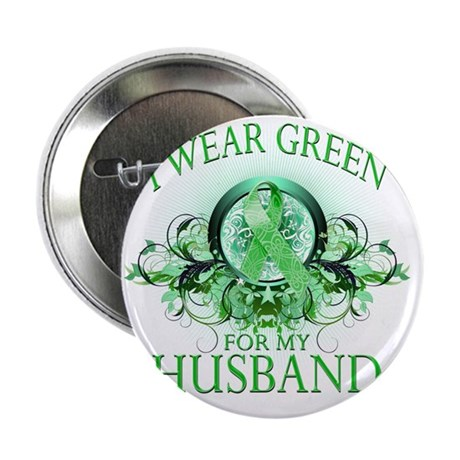 """I Wear Green for my Husband (floral) 2.25"""" Button"""