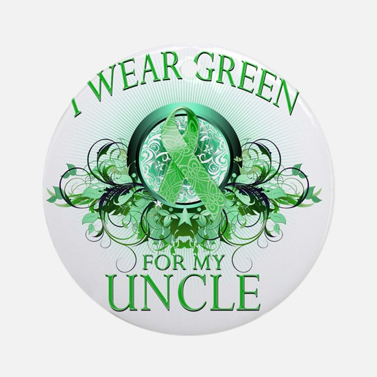 I Wear Green for my Uncle (floral) Round Ornament