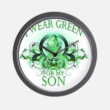 I Wear Green for my Son (floral) Wall Clock