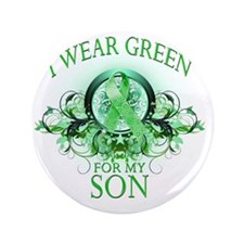 """I Wear Green for my Son (floral) 3.5"""" Button"""