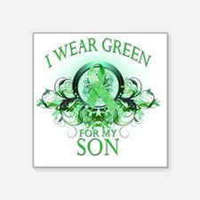 "I Wear Green for my Son (fl Square Sticker 3"" x 3"""