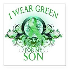 """I Wear Green for my Son  Square Car Magnet 3"""" x 3"""""""