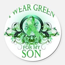 I Wear Green for my Son (floral) Round Car Magnet