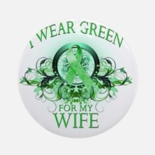 I Wear Green for my Wife (floral) Round Ornament