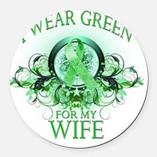 I Wear Green for my Wife (floral) Round Car Magnet