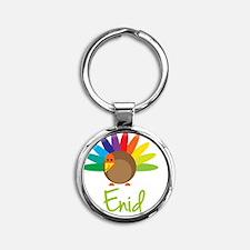Enid-the-turkey Round Keychain