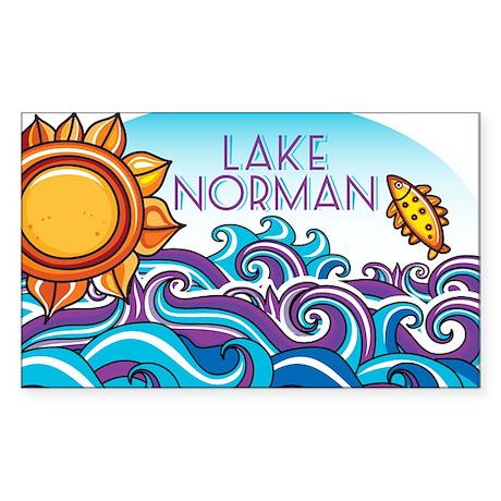 Lake Norman Waves Sun Sticker (Rectangle)