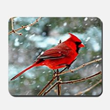 Red Cardinal on a snowy winter day Mousepad