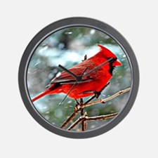 Red Cardinal on a snowy winter day Wall Clock