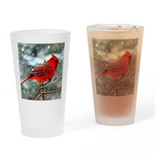 Red Cardinal on a snowy winter day Drinking Glass