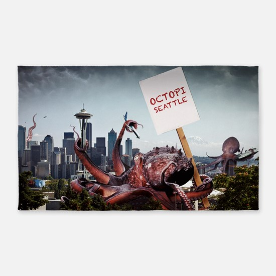 Octopi Seattle Large Poster 3'x5' Area Rug