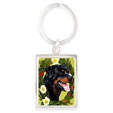 Seasonal Rottweiler Portrait Keychain