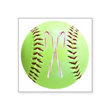 "Softball Christmas Ornament Square Sticker 3"" x 3"""