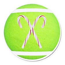 Tennis Ball Ornament, Stocking, M Round Car Magnet