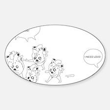 Heart Zombies Sticker (Oval)