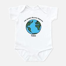 Revolves around Tania Infant Bodysuit