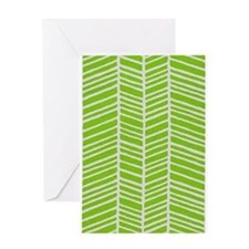 Lime Green Stripes Greeting Cards