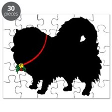 Pomeranian Christmas or Holiday Silhouette Puzzle