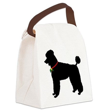 Poodle Christmas or Holiday Silho Canvas Lunch Bag