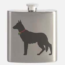German Shepard Christmas or Holiday Silhouet Flask