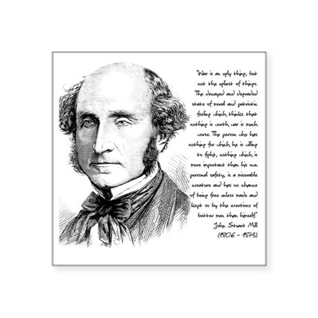 "John Stuart Mill Square Sticker 3"" x 3"""