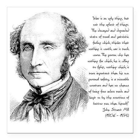 """John Stuart Mill Square Car Magnet 3"""" x 3"""""""