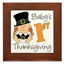 Babys First Thanksgiving Framed Tile