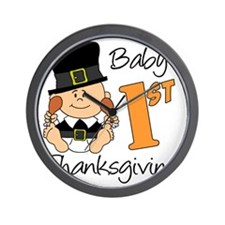Babys First Thanksgiving Wall Clock