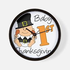 Babys First Thanksgiving Wall Clock