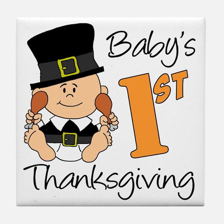 Babys First Thanksgiving Tile Coaster